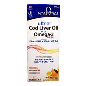 Vitabiotics Ultra Cod Liver Oil Plus Omega 3 Liquid 250ml