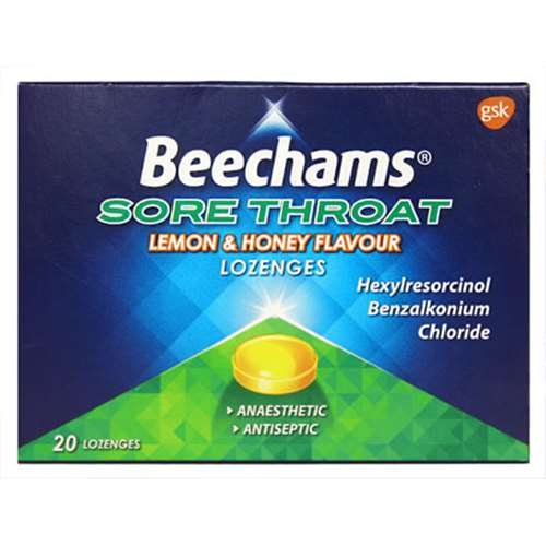 Image of Beechams Max Strength Sore Throat Relief - Lemon & Honey Lozenges(20)