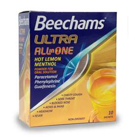Beechams Ultra All In One Hot Lemon Menthol Powder x10 Sachets