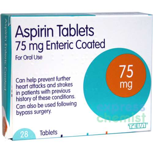 Image of Aspirin Tablets 75mg Enteric Coated (28)