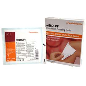 Smith and Nephew Melolin Cushioned Dressing Pads for Cuts, Grazes and Minor Burns (10cm x 10cm) (5 Dressings)