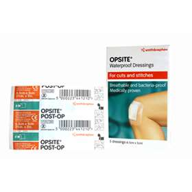 Smith and Nephew OpSite Waterproof Dressings for Cuts and Stitches (6.5cm x 5cm) (5 Dressings)