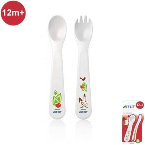 Image of Avent Fork and Spoon Set 12m+