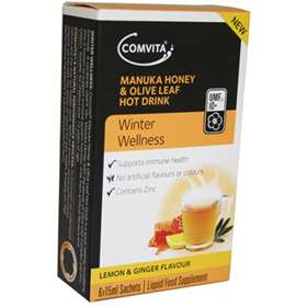 Comvita Manuka Honey and Olive Leaf Hot Drink Lemon and Ginger Flavour 6 Sachets