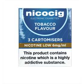 Nicocigs 3 Cartomisers Low Strength Tobacco Flavour 6mg