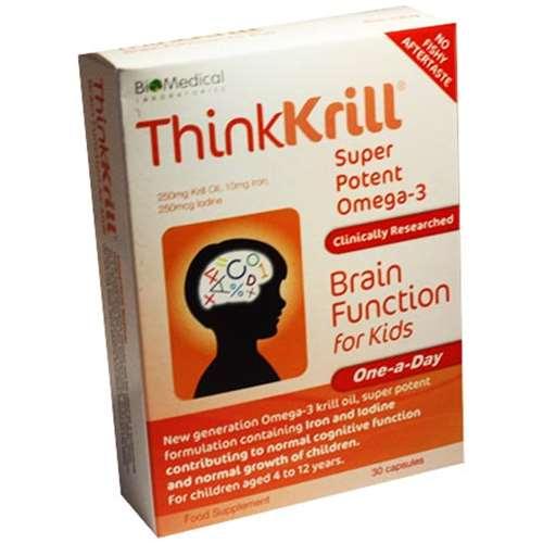 Thinkkrill Super Potent Omega-3 Brain Function for Kids 30 Capsules