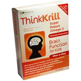 Thinkkrill Super Potent Omega-3 Brain Function for Kids 30 Capsules