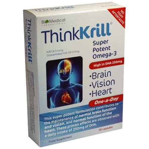 Thinkkrill Super Potent Omega-3 Brain, Vision & Heart Formula 30 Capsules