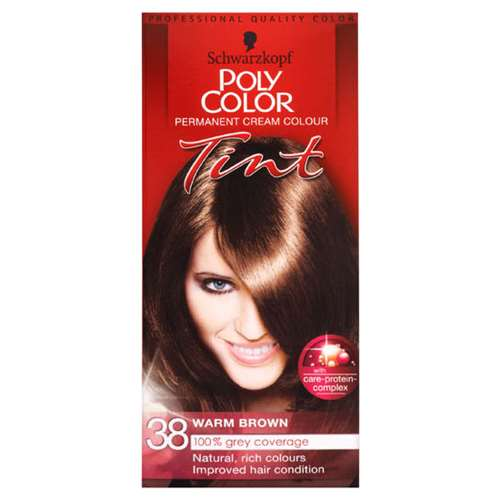 Image of Schwarzkopf Poly Color Permanent Cream Colour tint 38 Warm Brown