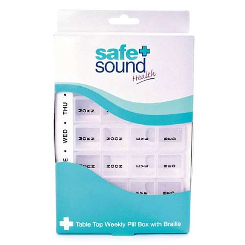 Image of Safe and Sound Table Top Weekly Pill Box with Braille