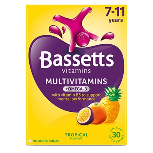 Image of Bassetts Multivitamins 7-11 Years Tropical Plus Omega-3 Soft Chewies 30