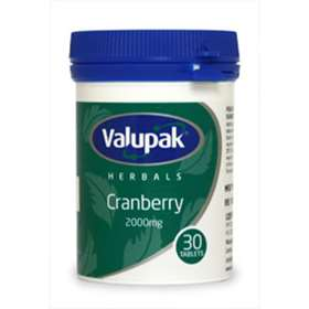 Valupak Herbals Cranberry 200mg 30 Tablets