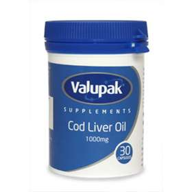 Valupak Supplements Cod Liver Oil 1000mg Capsules 30