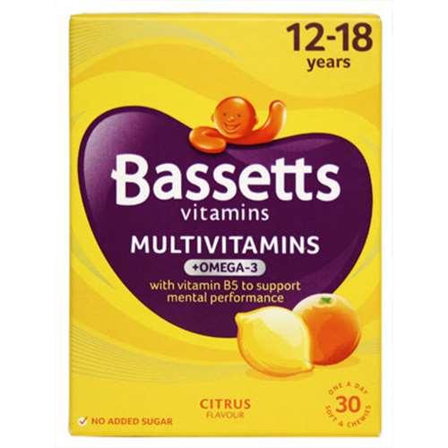 Image of Bassetts Multivitamin + Omega-3 12-18 Years Citrus Flavour 30 Vitamins
