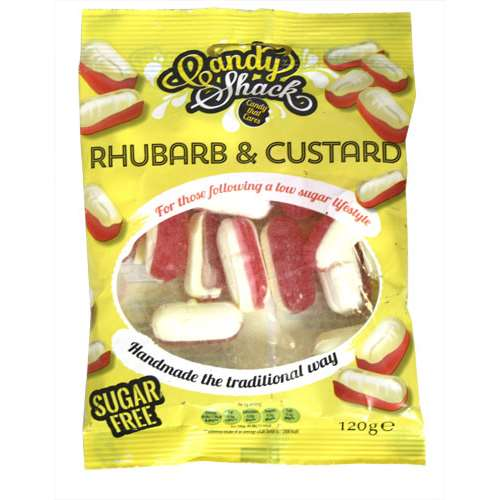 Image of candy shack rhubarb and custard sugar free sweets 120g