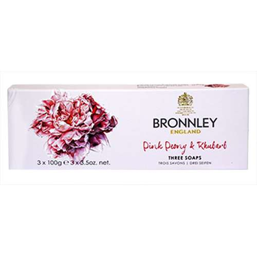 Image of Bronnley Pink Peony and Rhubarb 3 x 100g Soaps