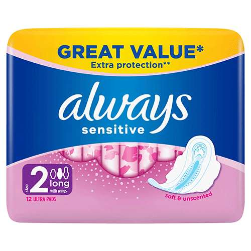 Image of Always Sensitive Towels with Wings Ultra Long 12