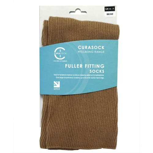 Image of Curasock Fuller Fitting Socks - Beige - UK 4-7