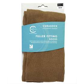 Curasock Fuller Fitting Socks - Beige - UK 4-7