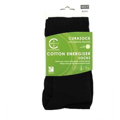 Image of Curasock Cotton Energiser Socks - Black - UK 4-7