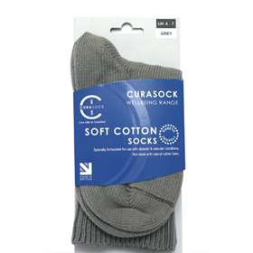 Curasock Soft Cotton Socks - Grey - UK 4-7
