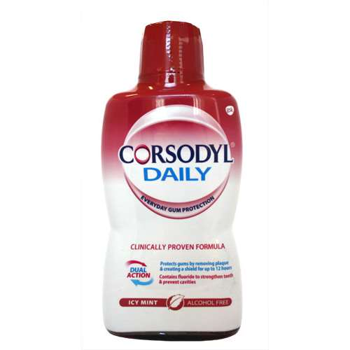 Image of Corsodyl Daily Alcohol free mouth wash Icy Mint 500ml