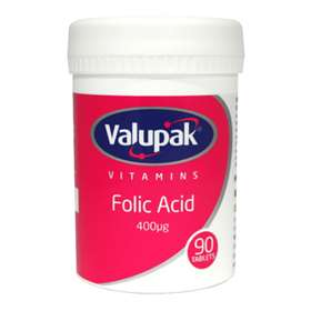 Valupak Folic Acid 400iu 90 tablets