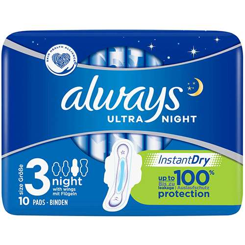 Image of Always Ultra Night Sanitary Towels with Wings 10