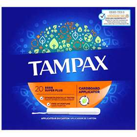 Tampax Cardboard Applicator Super Plus Tampons 20