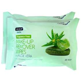 Nuage Skin Fragrance Free Make-Up Remover Wipes with Aloe Vera Twin Pack