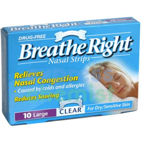 Image of Breathe Right Nasal Strip Clear Large - 10 Pack