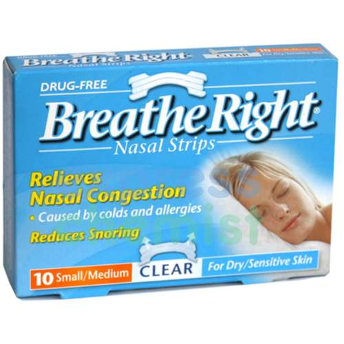 Image of Breathe Right Nasal Strip Clear Small/Medium - 10 Pack