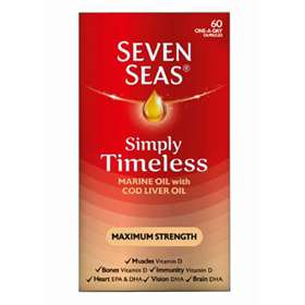 Seven Seas Simply Timeless Cod Liver Oil Maximum Strength 60 one-a-day capsules