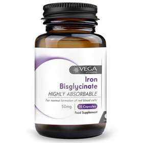 Vega Iron Bisglycinate 50mg Non Constipating (30 V-Caps)