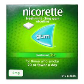 Nicorette Fresh Mint Gum 2mg (210 Pieces) Low Strength