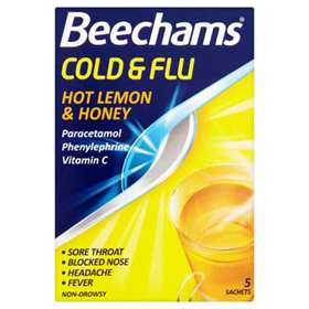 Beechams Cold and Flu Hot Lemon and Honey 5 Sachets