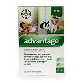Advantage Flea Prevention and Treatment Solution Cats & Dogs less than 4kg 4 x 0.4ml