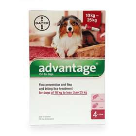 Advantage Flea Prevention and Treatment Solution  for Dogs of 10 kg to less than 25kg  -  4 x 2.5ml.