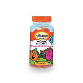 Haliborange Mr Men Little Miss Omega 3 and multivitamins for kids 3-7 30 orange softies