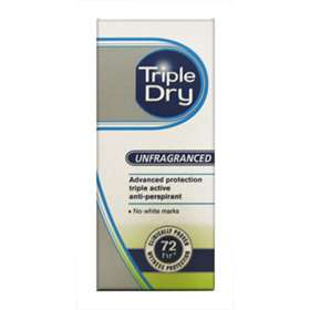 Triple Dry Unfragranced Antiperspirant Roll On 50ml