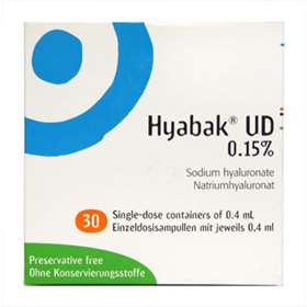 Hyabak UD 0.15% Sodium Hyaluronate 30 Single 0.4ml Containers