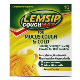 Lemsip CoughMax for mucus cough & cold Lemon Flavour Sachets 10