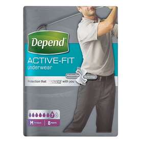 Depend Active Fit Underwear for Men Medium 8 Pants
