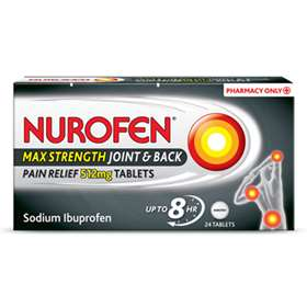 Nurofen Max Strength Pain Relief 512mg 24 Tablets.