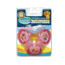 Griptight 3 Orthodontic Soothers PINK WITH BUTTERFLY 6 Months+