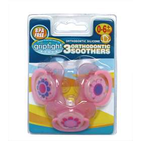 Griptight 3 Pink Orthodontic Soothers 0-6+ months