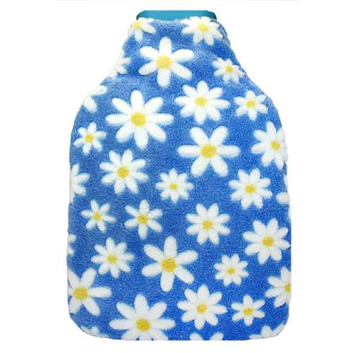 Serenade Hot Water Bottle With Cover  Light Blue With Flowers