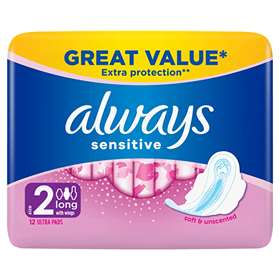 Always Sensitive Long with Wings Ultra Towels 12