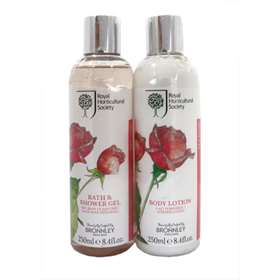 Bronnley RHS Rose Bath & Shower Gel and Body Lotion - 250ml Duo Gift Set