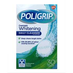 PolyGrip Overnight Whitening Daily Cleanser For Dentures